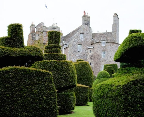 Castle exterior with topiary