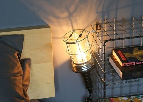wire basket bedside table with inspection lamp