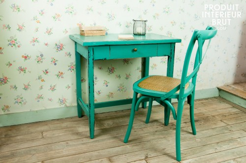 turquoise table & chair