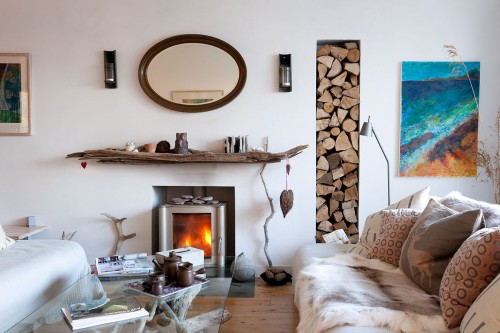 Fireplace and reindeer skins